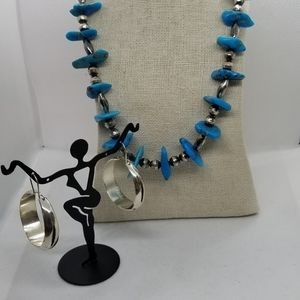 Beautiful Liquid Silver and Turquoise stone set Am